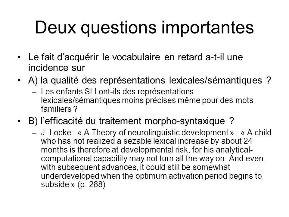 Deux questions importantes Le fait dacquérir le vocabulaire en retard a-t-il une incidence sur A) la qualité des représentations lexicales/sémantiques .