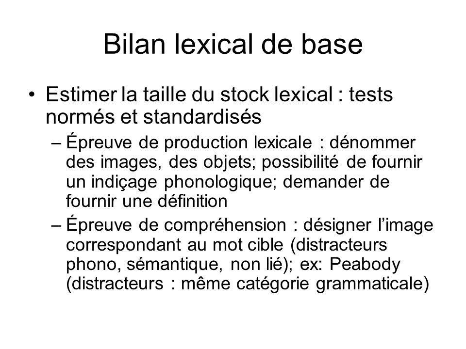 Bilan lexical de base Estimer la taille du stock lexical : tests normés et standardisés –Épreuve de production lexicale : dénommer des images, des obj