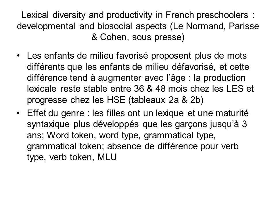 Lexical diversity and productivity in French preschoolers : developmental and biosocial aspects (Le Normand, Parisse & Cohen, sous presse) Les enfants