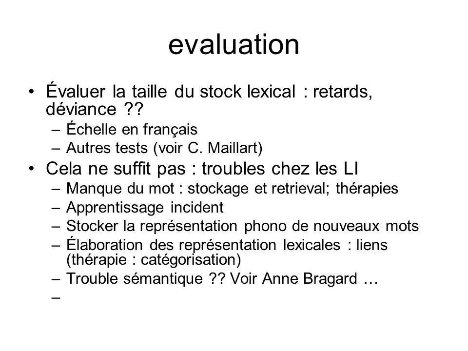 evaluation Évaluer la taille du stock lexical : retards, déviance ?? –Échelle en français –Autres tests (voir C. Maillart) Cela ne suffit pas : troubl
