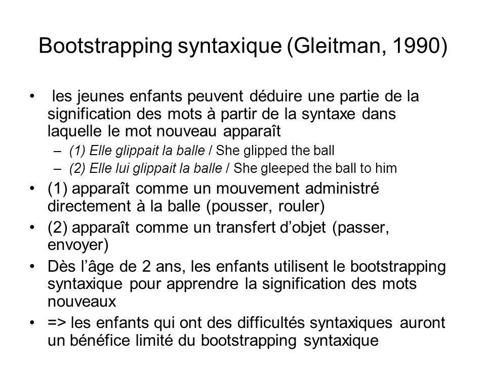 Bootstrapping syntaxique (Gleitman, 1990) les jeunes enfants peuvent déduire une partie de la signification des mots à partir de la syntaxe dans laquelle le mot nouveau apparaît –(1) Elle glippait la balle / She glipped the ball –(2) Elle lui glippait la balle / She gleeped the ball to him (1) apparaît comme un mouvement administré directement à la balle (pousser, rouler) (2) apparaît comme un transfert dobjet (passer, envoyer) Dès lâge de 2 ans, les enfants utilisent le bootstrapping syntaxique pour apprendre la signification des mots nouveaux => les enfants qui ont des difficultés syntaxiques auront un bénéfice limité du bootstrapping syntaxique