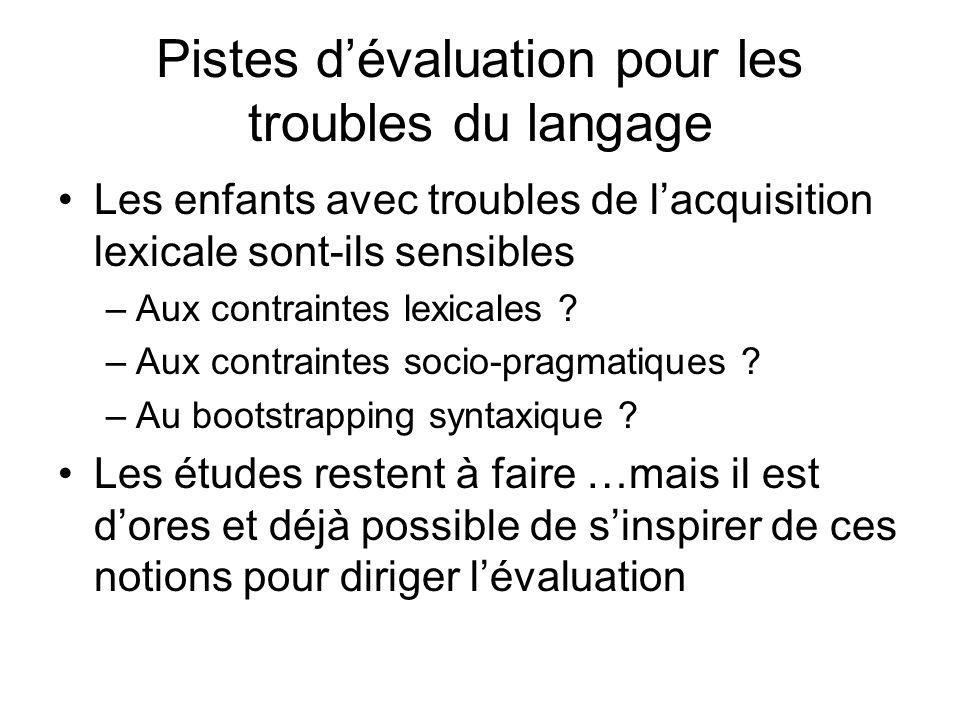 Pistes dévaluation pour les troubles du langage Les enfants avec troubles de lacquisition lexicale sont-ils sensibles –Aux contraintes lexicales ? –Au