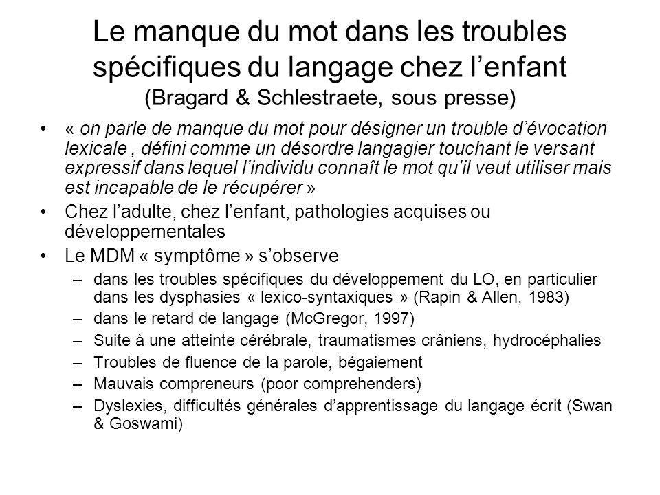 Le manque du mot dans les troubles spécifiques du langage chez lenfant (Bragard & Schlestraete, sous presse) « on parle de manque du mot pour désigner