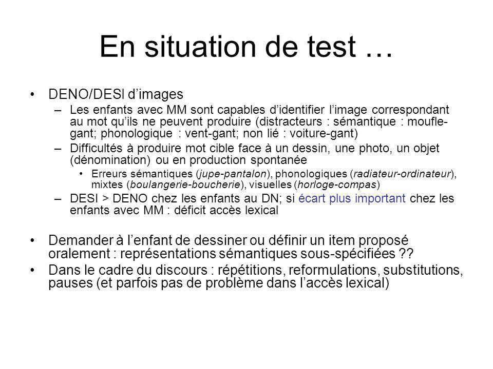 En situation de test … DENO/DESI dimages –Les enfants avec MM sont capables didentifier limage correspondant au mot quils ne peuvent produire (distrac