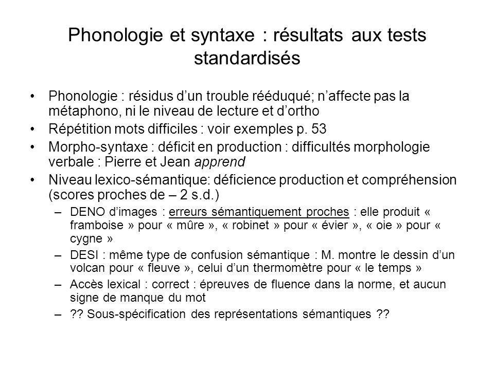 Phonologie et syntaxe : résultats aux tests standardisés Phonologie : résidus dun trouble rééduqué; naffecte pas la métaphono, ni le niveau de lecture et dortho Répétition mots difficiles : voir exemples p.