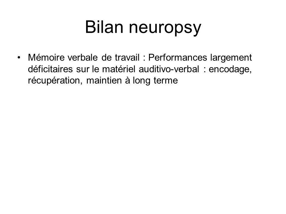 Bilan neuropsy Mémoire verbale de travail : Performances largement déficitaires sur le matériel auditivo-verbal : encodage, récupération, maintien à long terme