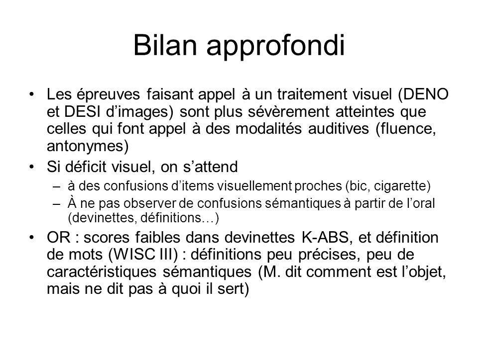 Bilan approfondi Les épreuves faisant appel à un traitement visuel (DENO et DESI dimages) sont plus sévèrement atteintes que celles qui font appel à des modalités auditives (fluence, antonymes) Si déficit visuel, on sattend –à des confusions ditems visuellement proches (bic, cigarette) –À ne pas observer de confusions sémantiques à partir de loral (devinettes, définitions…) OR : scores faibles dans devinettes K-ABS, et définition de mots (WISC III) : définitions peu précises, peu de caractéristiques sémantiques (M.
