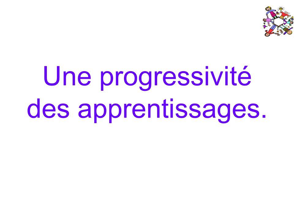 Une progressivité des apprentissages.