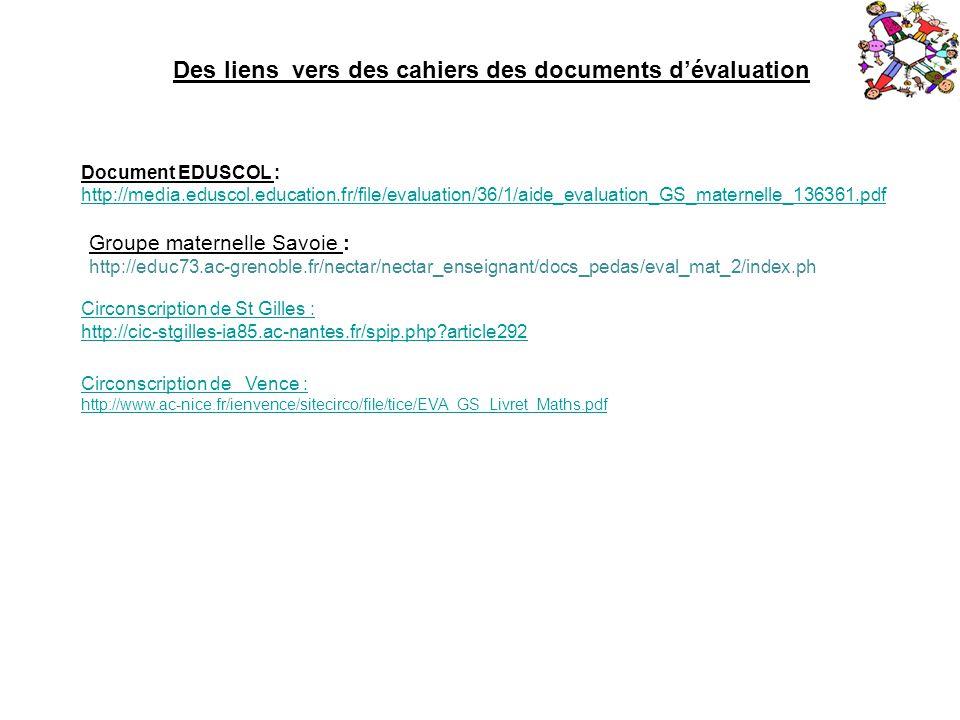 Document EDUSCOL : http://media.eduscol.education.fr/file/evaluation/36/1/aide_evaluation_GS_maternelle_136361.pdf Des liens vers des cahiers des docu