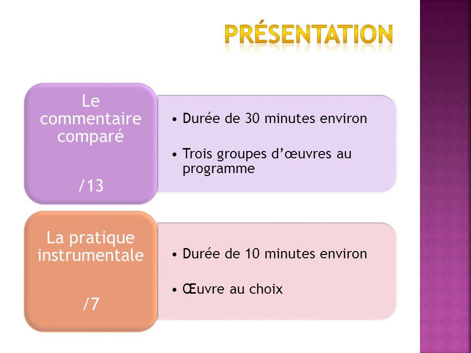 Durée de 30 minutes environ Trois groupes dœuvres au programme Le commentaire comparé /13 Durée de 10 minutes environ Œuvre au choix La pratique instrumentale /7