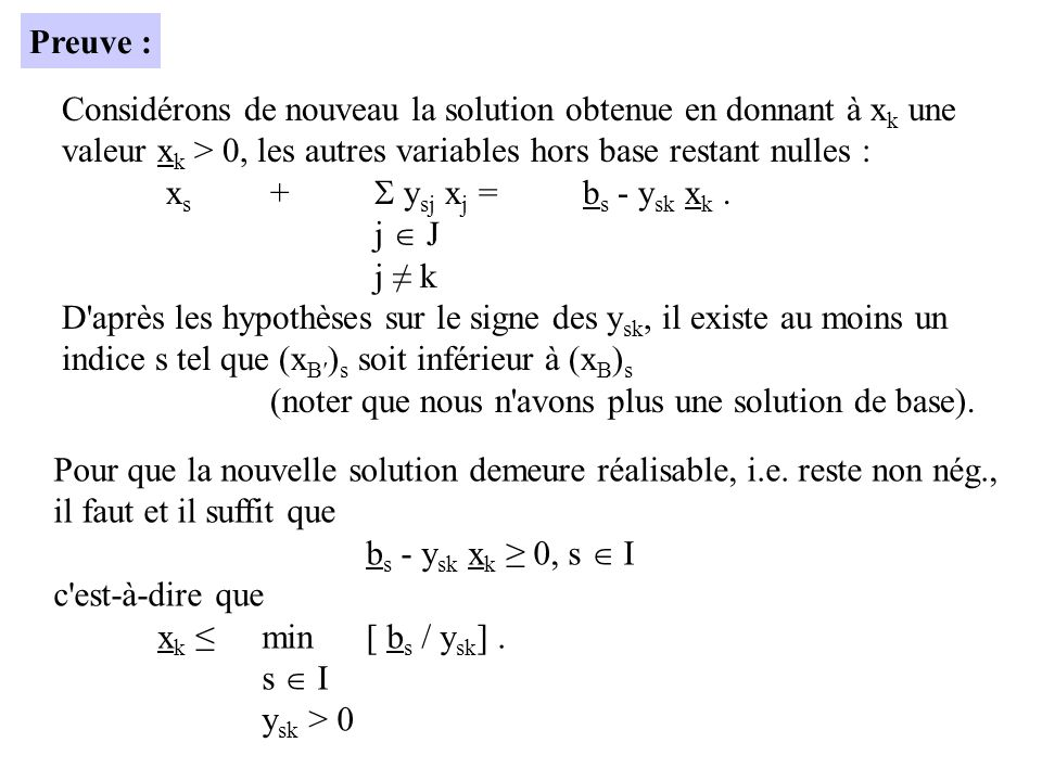 Considérons de nouveau la solution obtenue en donnant à x k une valeur x k > 0, les autres variables hors base restant nulles : x s + y sj x j =b s - y sk x k.