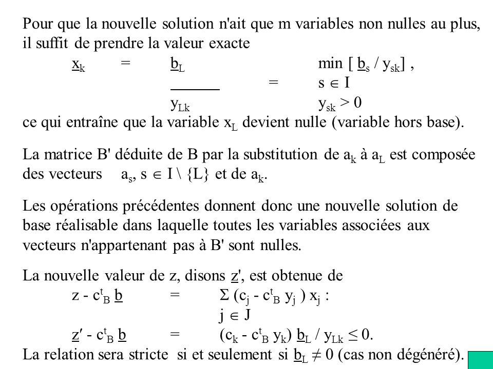 Pour que la nouvelle solution n ait que m variables non nulles au plus, il suffit de prendre la valeur exacte x k =b L min [ b s / y sk ], =s I y Lk y sk > 0 ce qui entraîne que la variable x L devient nulle (variable hors base).