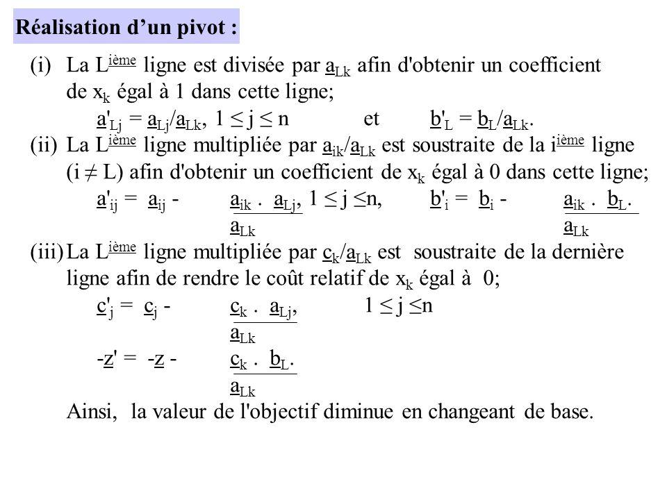(i)La L ième ligne est divisée par a Lk afin d'obtenir un coefficient de x k égal à 1 dans cette ligne; a' Lj = a Lj /a Lk, 1 j netb' L = b L /a Lk. (