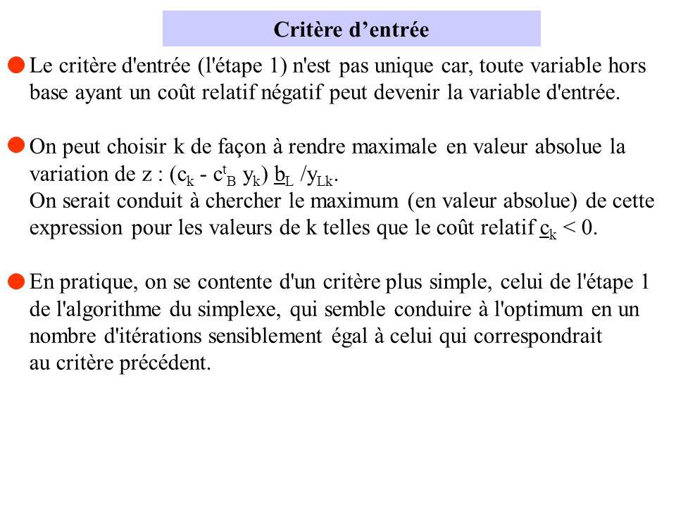 Le critère d'entrée (l'étape 1) n'est pas unique car, toute variable hors base ayant un coût relatif négatif peut devenir la variable d'entrée. On peu