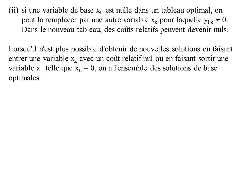 (ii)si une variable de base x L est nulle dans un tableau optimal, on peut la remplacer par une autre variable x k pour laquelle y Lk 0.