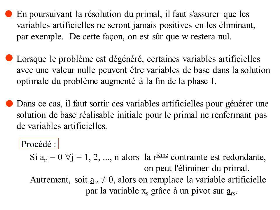 En poursuivant la résolution du primal, il faut s'assurer que les variables artificielles ne seront jamais positives en les éliminant, par exemple. De