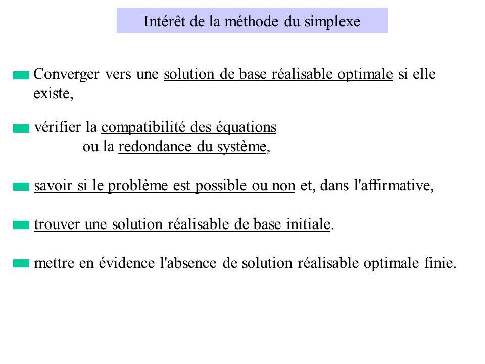 vérifier la compatibilité des équations ou la redondance du système, savoir si le problème est possible ou non et, dans l affirmative, trouver une solution réalisable de base initiale.