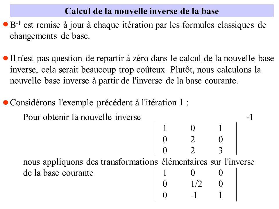 Calcul de la nouvelle inverse de la base B -1 est remise à jour à chaque itération par les formules classiques de changements de base. Il n'est pas qu