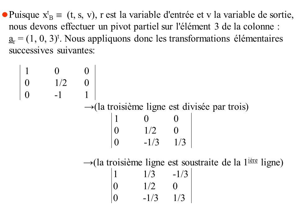 Puisque x t B (t, s, v), r est la variable d entrée et v la variable de sortie, nous devons effectuer un pivot partiel sur l élément 3 de la colonne : a r = (1, 0, 3) t.