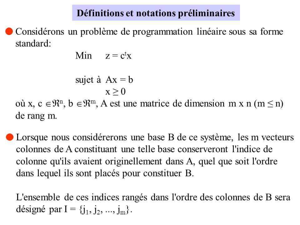 Définitions et notations préliminaires Considérons un problème de programmation linéaire sous sa forme standard: Minz = c t x sujet àAx = b x 0 où x,