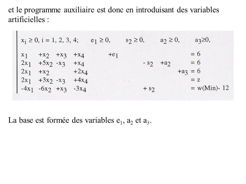 et le programme auxiliaire est donc en introduisant des variables artificielles : La base est formée des variables e 1, a 2 et a 3.