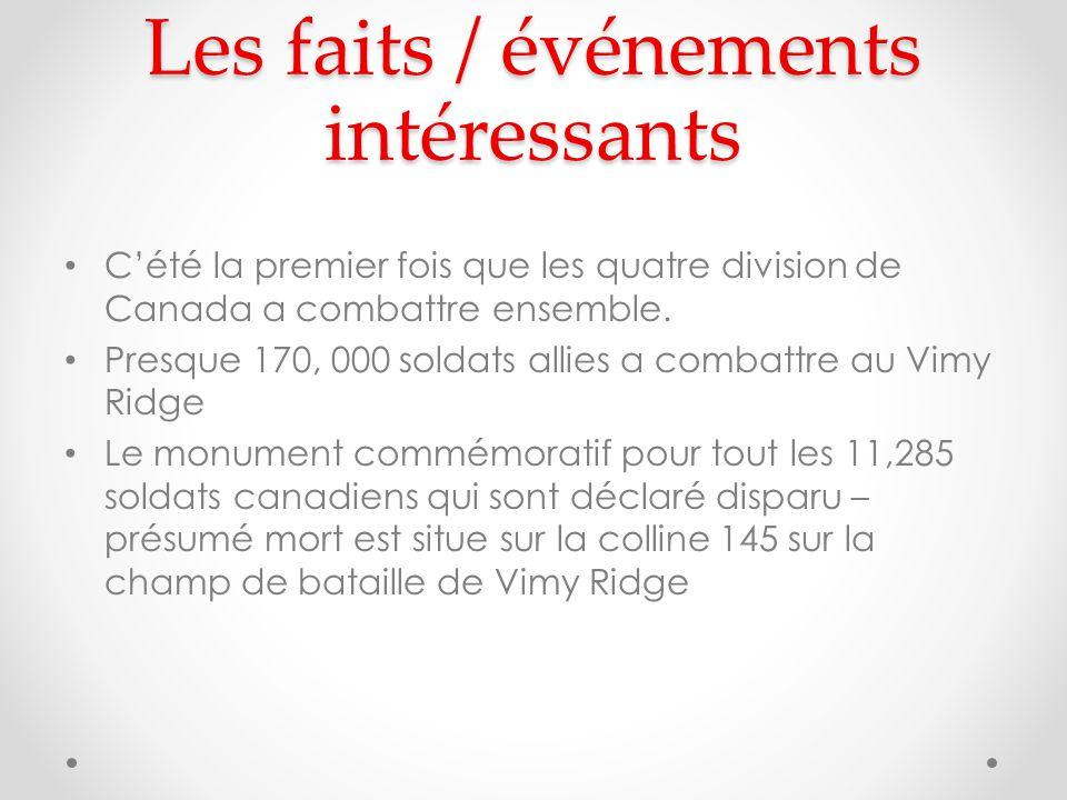 Les faits / événements intéressants Cété la premier fois que les quatre division de Canada a combattre ensemble.