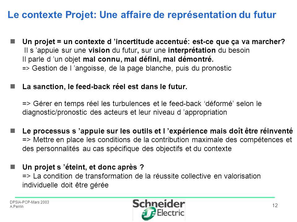 DPSIA-PCP-Mars 2003 A.Perrin 12 Le contexte Projet: Une affaire de représentation du futur Un projet = un contexte d incertitude accentué: est-ce que