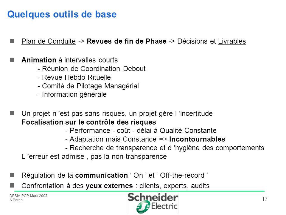 DPSIA-PCP-Mars 2003 A.Perrin 17 Quelques outils de base Plan de Conduite -> Revues de fin de Phase -> Décisions et Livrables Animation à intervalles c