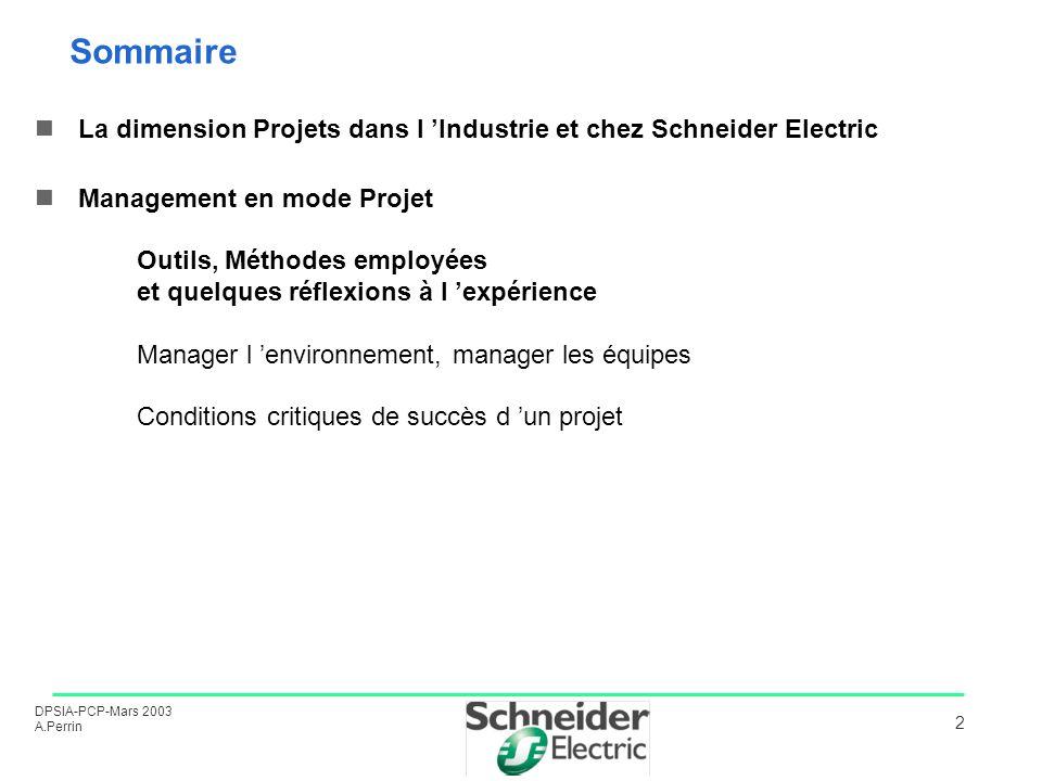 DPSIA-PCP-Mars 2003 A.Perrin 2 Sommaire La dimension Projets dans l Industrie et chez Schneider Electric Management en mode Projet Outils, Méthodes em