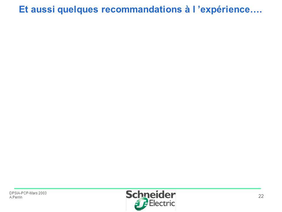 DPSIA-PCP-Mars 2003 A.Perrin 22 Et aussi quelques recommandations à l expérience….