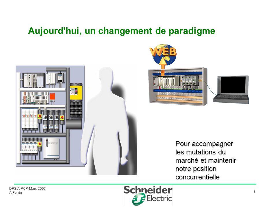 DPSIA-PCP-Mars 2003 A.Perrin 6 Aujourd'hui, un changement de paradigme Pour accompagner les mutations du marché et maintenir notre position concurrent