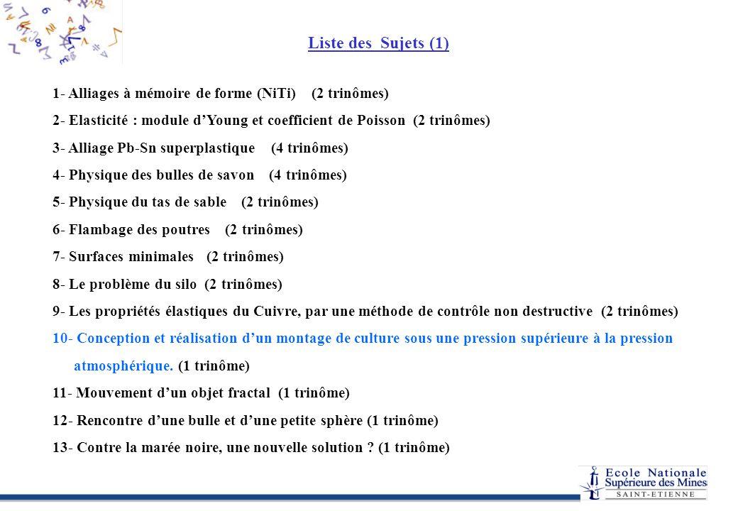 Liste des Sujets (1) APPEX – Sujets 2005 1.D.