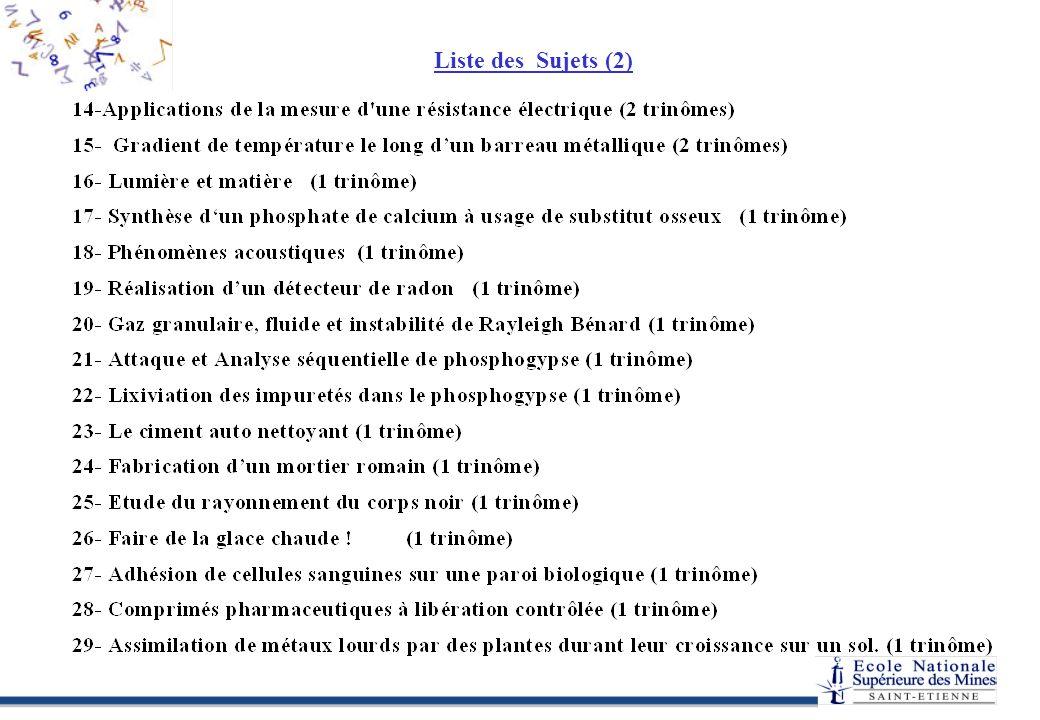 Liste des Sujets (2)