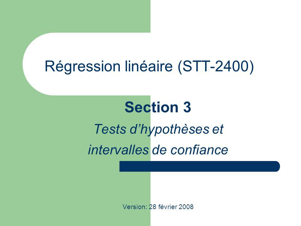 STT-2400; Régression linéaire 2 Hypothèses concernant un préviseur particulier Lobtention dinformation sur un des préviseurs peut être une considération pertinente.