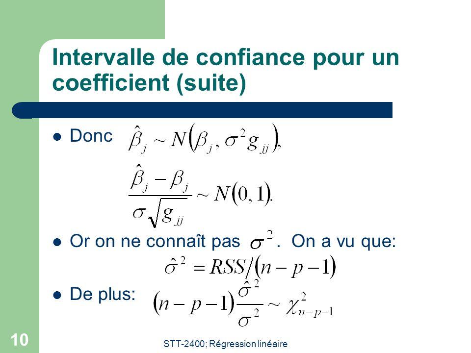 STT-2400; Régression linéaire 11 Intervalle de confiance pour un coefficient (suite) Sous lhypothèse ne normalité, il est possible de montrer que et sont indépendants.