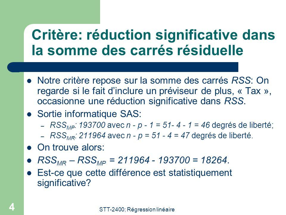 STT-2400; Régression linéaire 5 Statistique dintérêt La statistique dintérêt est: Sous lhypothèse nulle: Lestimateur est lestimateur de dans le modèle plein.