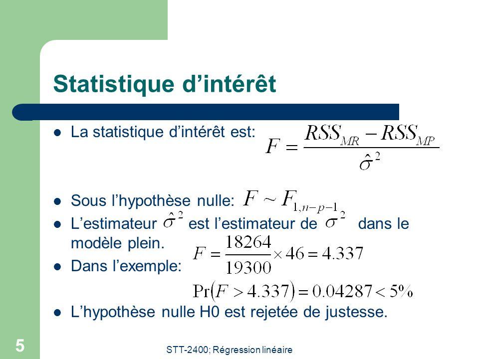 STT-2400; Régression linéaire 6 Test-F partiel Le test-F précédent est aussi appelé test-F partiel.