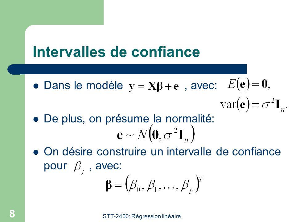 STT-2400; Régression linéaire 9 Intervalle de confiance pour un coefficient Posons, un vecteur de dimension p + 1, où le un est en position j.