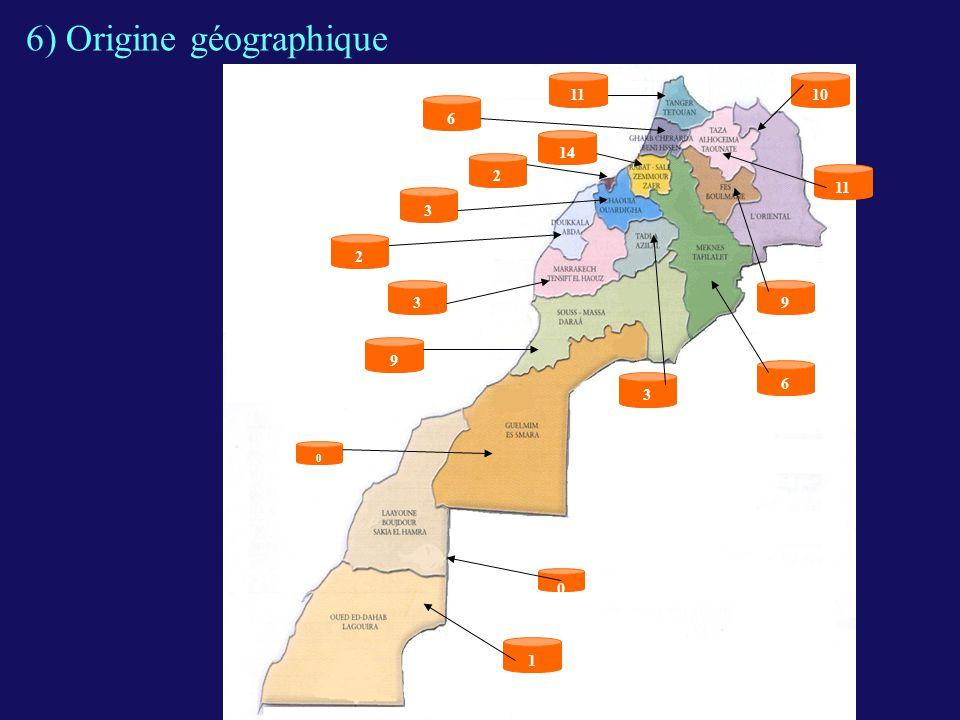 6) Origine géographique 11 0 1 2 14 9 6 3 10 9 0 11 6 3 3 2