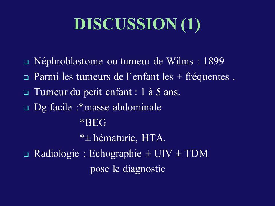 DISCUSSION (1) Néphroblastome ou tumeur de Wilms : 1899 Parmi les tumeurs de lenfant les + fréquentes.