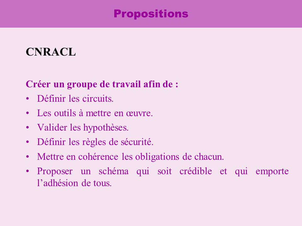 Propositions CNRACL Créer un groupe de travail afin de : Définir les circuits.