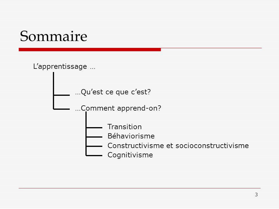 3 Sommaire Lapprentissage … …Quest ce que cest? …Comment apprend-on? Transition Béhaviorisme Constructivisme et socioconstructivisme Cognitivisme
