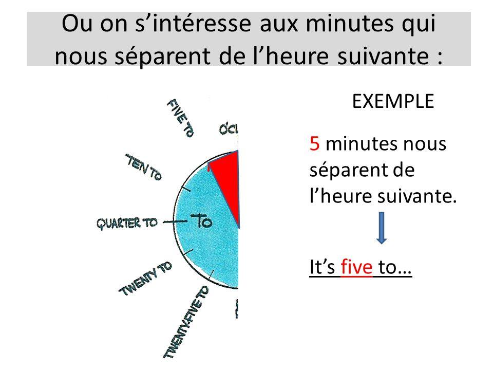 Ou on sintéresse aux minutes qui nous séparent de lheure suivante : EXEMPLE 5 minutes nous séparent de lheure suivante. Its five to…