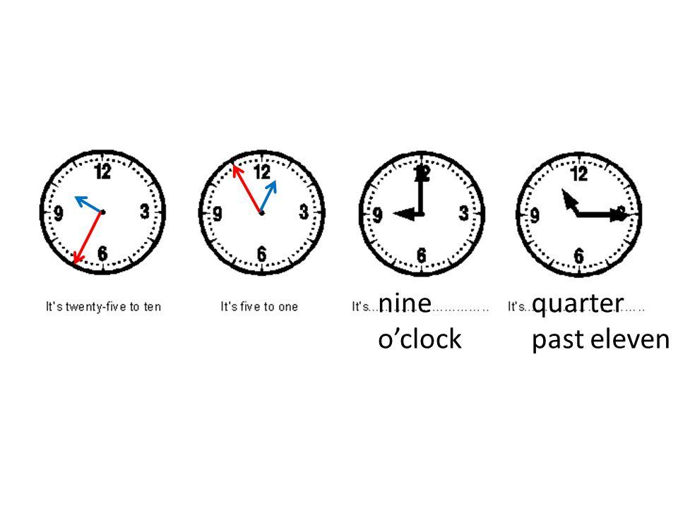 nine oclock quarter past eleven