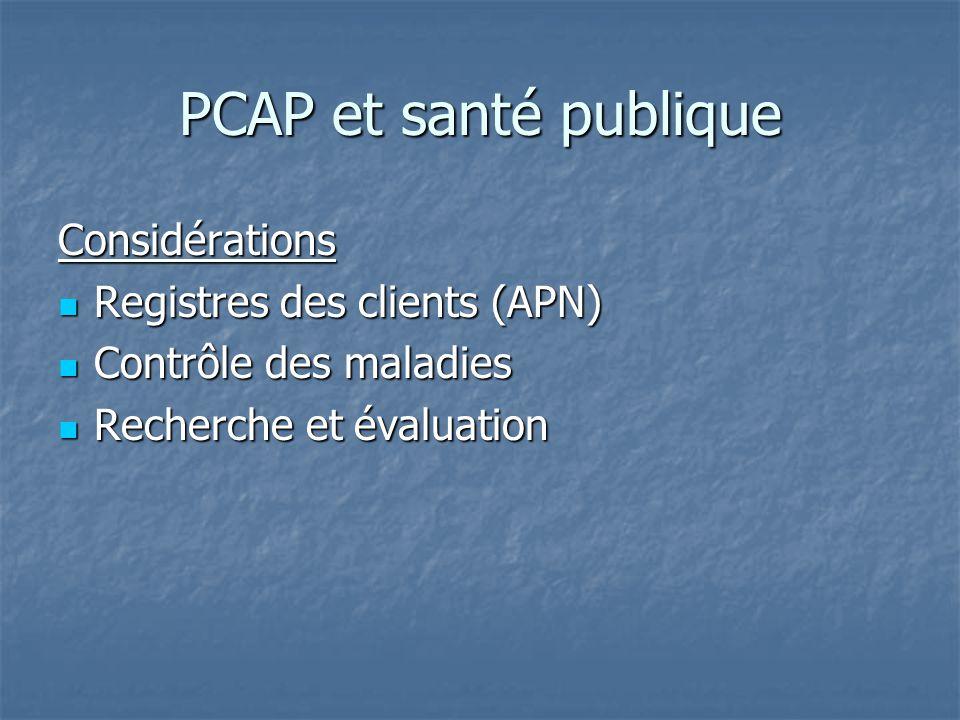 PCAP et santé publique Considérations Registres des clients (APN) Registres des clients (APN) Contrôle des maladies Contrôle des maladies Recherche et évaluation Recherche et évaluation