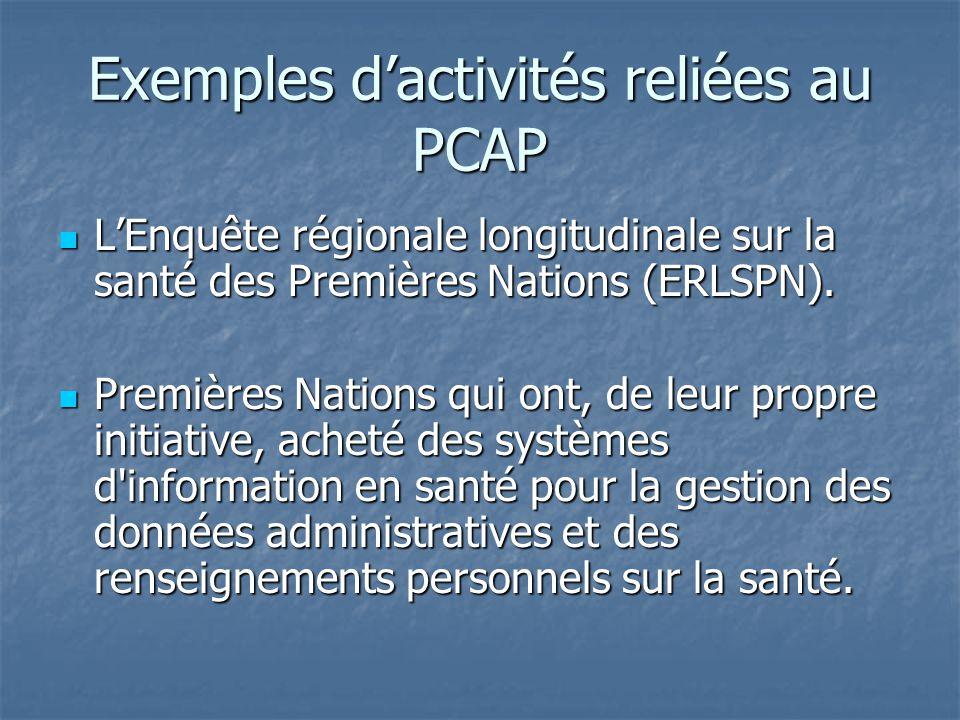Exemples dactivités reliées au PCAP LEnquête régionale longitudinale sur la santé des Premières Nations (ERLSPN). LEnquête régionale longitudinale sur