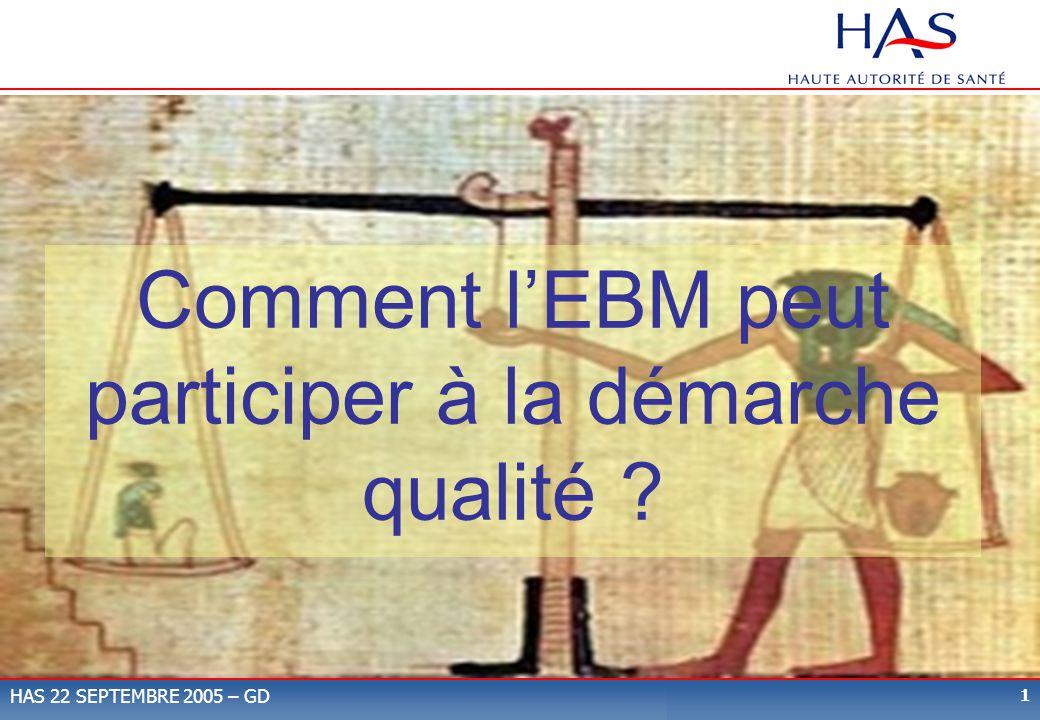 1 HAS 22 SEPTEMBRE 2005 – GD Comment lEBM peut participer à la démarche qualité ?