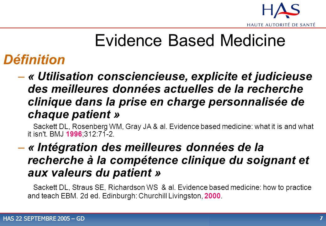 7 HAS 22 SEPTEMBRE 2005 – GD Evidence Based Medicine Définition –« Utilisation consciencieuse, explicite et judicieuse des meilleures données actuelle