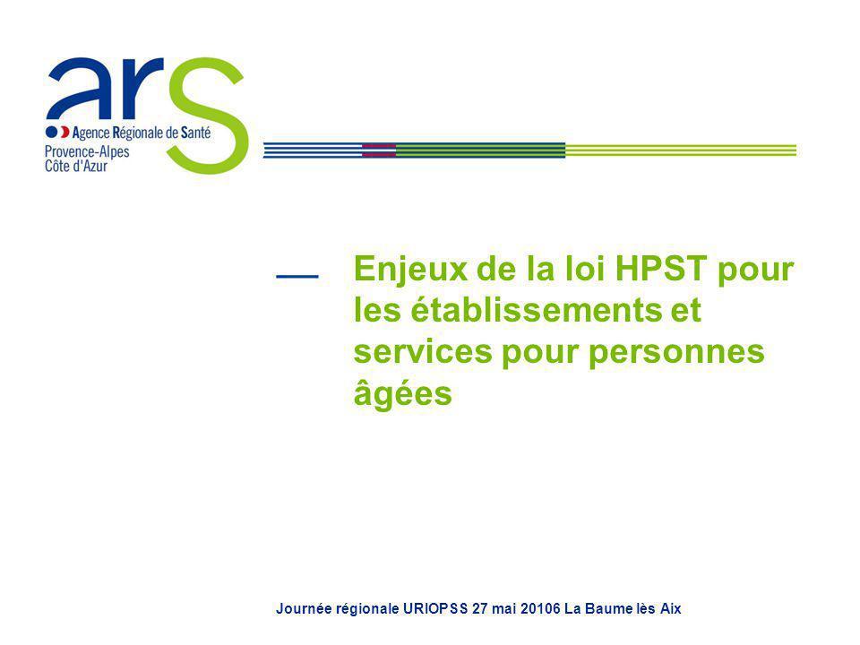 Enjeux de la loi HPST pour les établissements et services pour personnes âgées Journée régionale URIOPSS 27 mai 20106 La Baume lès Aix