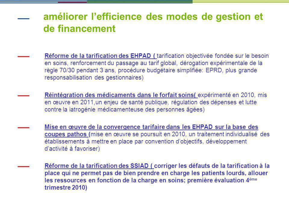 améliorer lefficience des modes de gestion et de financement Réforme de la tarification des EHPAD ( tarification objectivée fondée sur le besoin en so